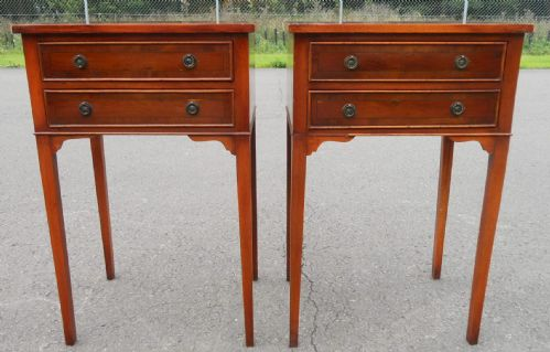 Pair Yew Lamp Tables by Bradley